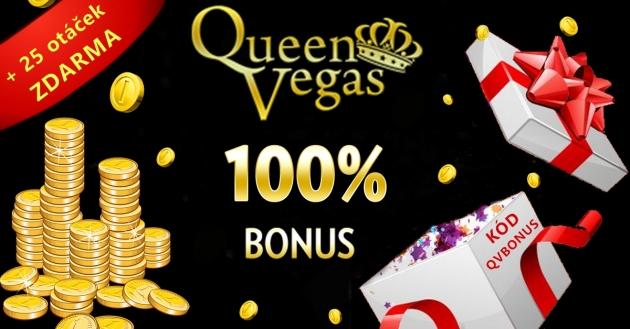 Uvítací 100% bonus v hodnotě až 100 € v casinu QueenVegas!