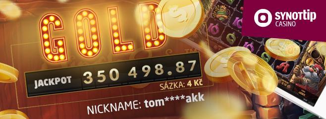 Gold jackpot za sázku pouhých 4 Kč | Neuvěřitelné! Hráč online casina Synot Tip si vsadil pouhé 4 Kč a vyhrál neuvěřitelný balík peněz? A pak, že to nelze i za malé částky! Lze, včerejší den je toho důkazem.
